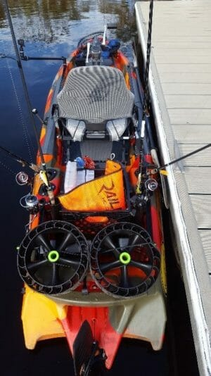 loaded fishing kayak