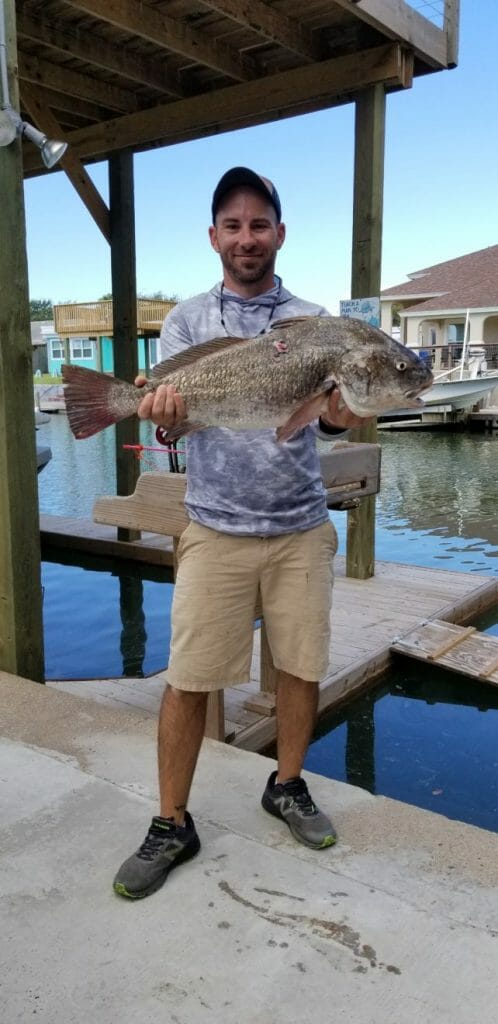 Texas bow fishing record black drum caught by Alex Cahill in Upper Laguna Madre Sept. 27, 2019.