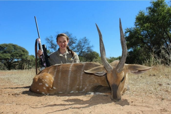 Stacy with a Limpopo bushbuck.