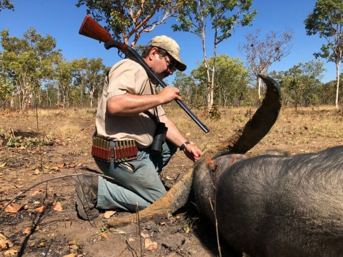 Louis Baum inspects his water buffalo