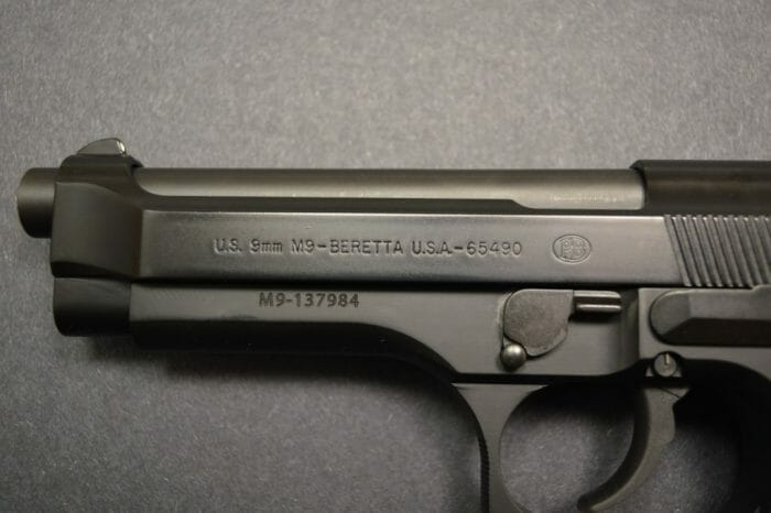 Beretta M9 Slide Roll Markings Left