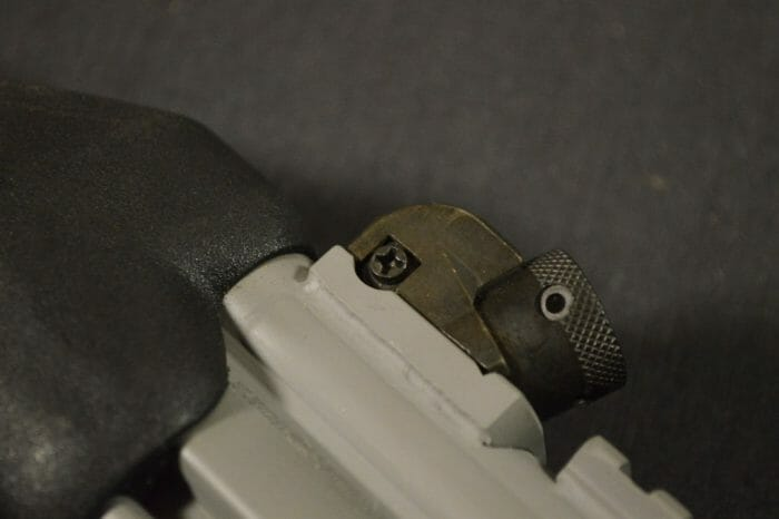 The BAP9 rear sight is adjustable for windage with a Phillips screwdriver and for elevation with an HK sight tool.