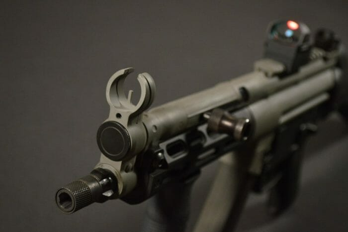 The open front sight hood eliminates clutter from the overall sight picture.