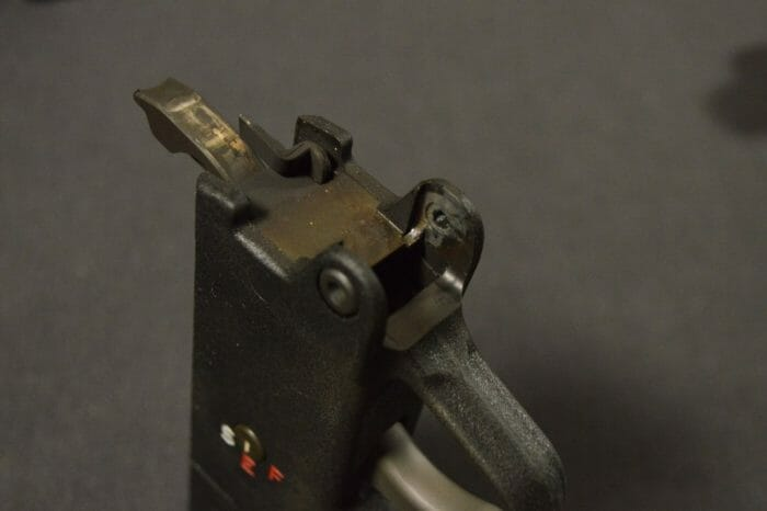 "The BAP9's trigger housing is ""clipped and pinned"" like most semi-auto, HK-style guns."