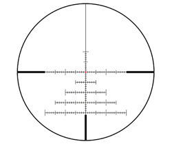 The Leica L-Ballistic (MIL) reticle is located in the second focal plane and is available for the 50 and 56 models of the Amplus 6 with Leica rapid reticle adjustment BDC (MIL).
