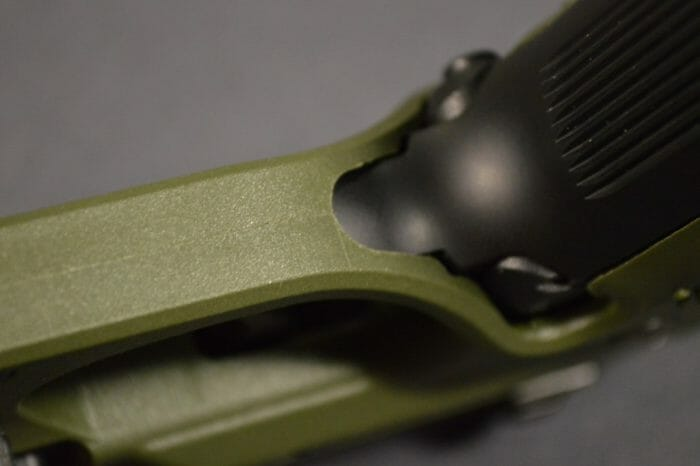 The area where the grip wraps around the trigger guard can irritate fingers.