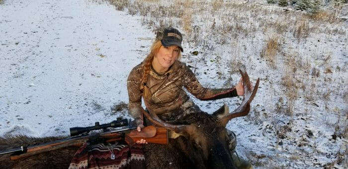 Mayhew with her moose from 2018.