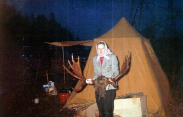 Mayhew's Grandma Anneliese and her moose in 1964
