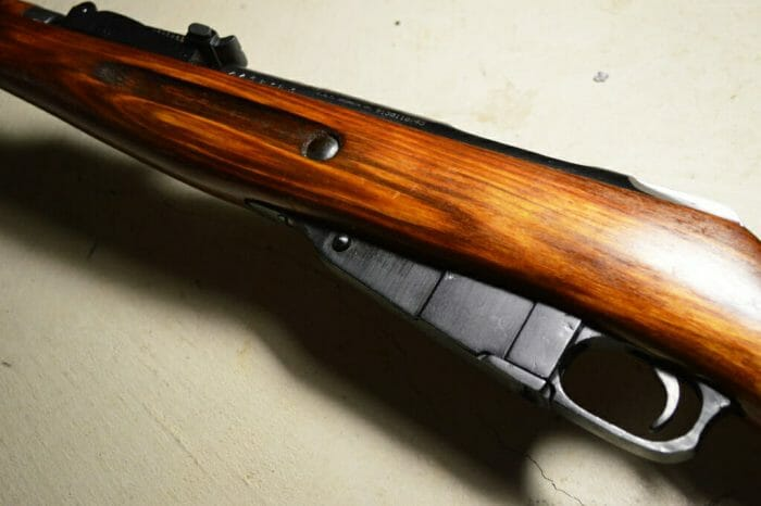 The wood grain on this 1944 ex-sniper is so nice, it almost looks like laminate.