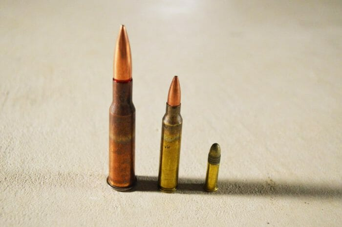 Left to right: 7.62x54mmR, 5.56x45mm, .22 LR