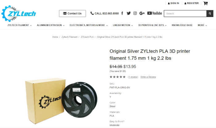 Zyltech is a Houston-based company. Their PLA is some of my favorite FDM filament. It's very affordable, but isn't anywhere near strong enough to make firearms parts.